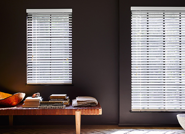 "2"" Matte Edged Wood Blinds Ivory, Smoke"