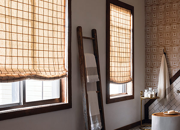 patterned bathroom roman shades