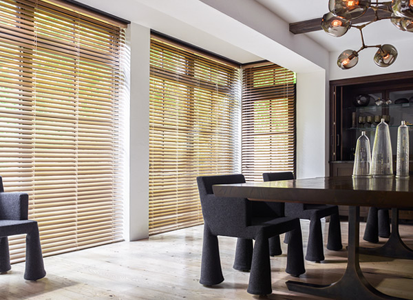 wood blinds for the dining room