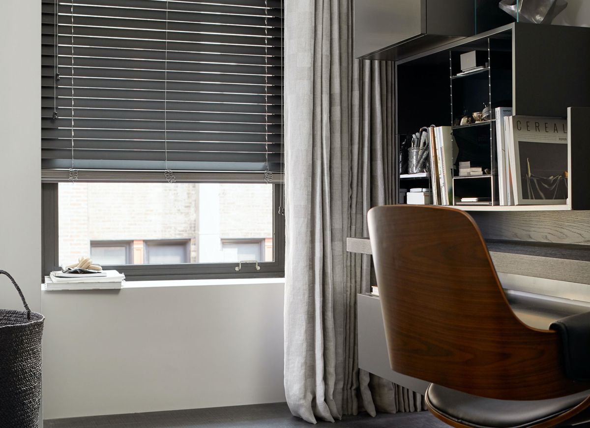 "2"" Matte Wood Blinds, Color: Coal"