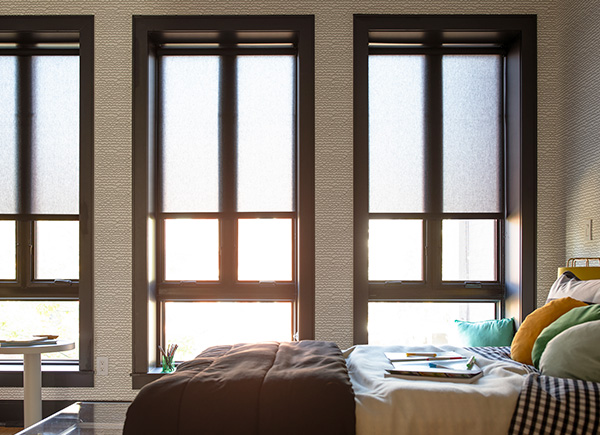 Roller Shades, Material: Light Filtering Thompson, Color: Black