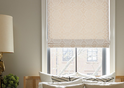 Flat Roman Shade, Material: Pendleton By Sunbrella Diamond River Tonal, Color: Snow