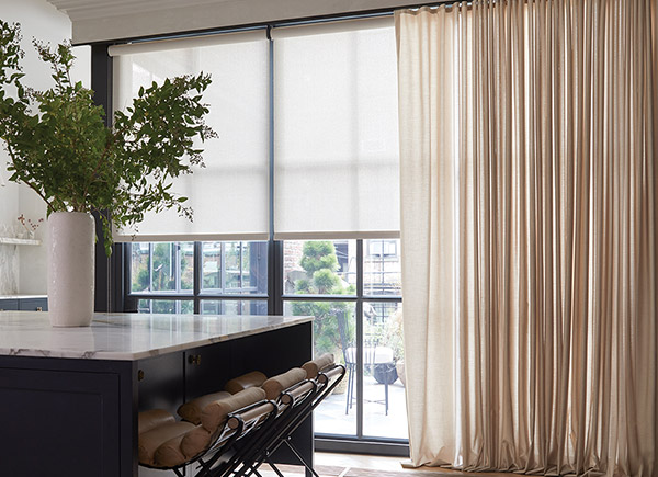 Ripplefold Drapery, Material: Sunbrella Ventana Collection Vitela, Color: Heather Beige; Solar Shades, Material: Sunbrella Solar Collection 5% Solistico, Color: Oatmeal