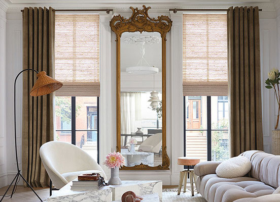Grommet Drapery, Material: Velvet, Color: Camel; Waterfall Woven Wood Shades, Material: Quogue, Color: Ravenna