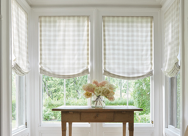 Relaxed Roman Shades, Material: Emerson, Color: Shea