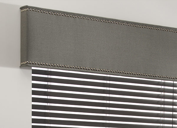 cornice with nailheads | wool sateen | ash