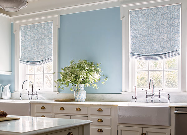 Relaxed Roman Shades | Aerin Lauder | Exotic Floral | Bay Blue