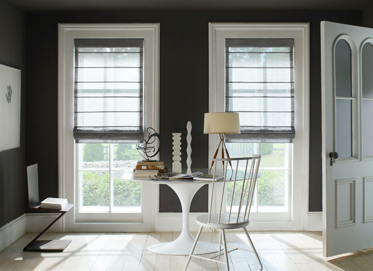 Aventura Roman Shades, Material: Sheer Wool Blend, Color: Urban Grey